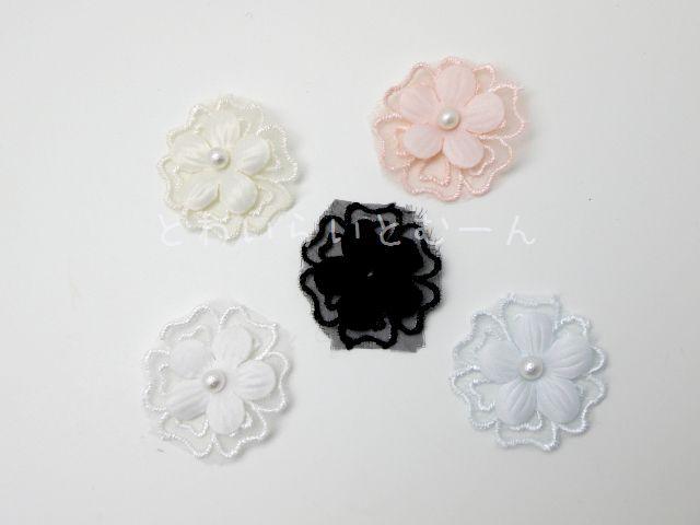 画像1: 花モチーフ:パールフラワーレースモチーフ
